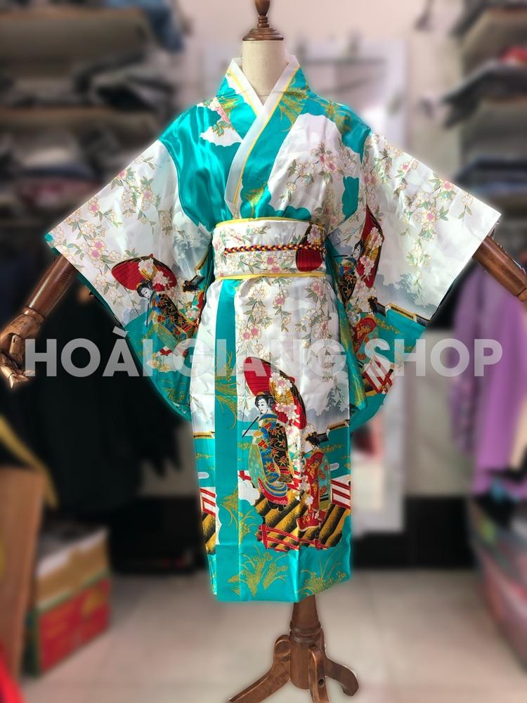 yukata nhật bản hình cô cái màu xanh ngọc