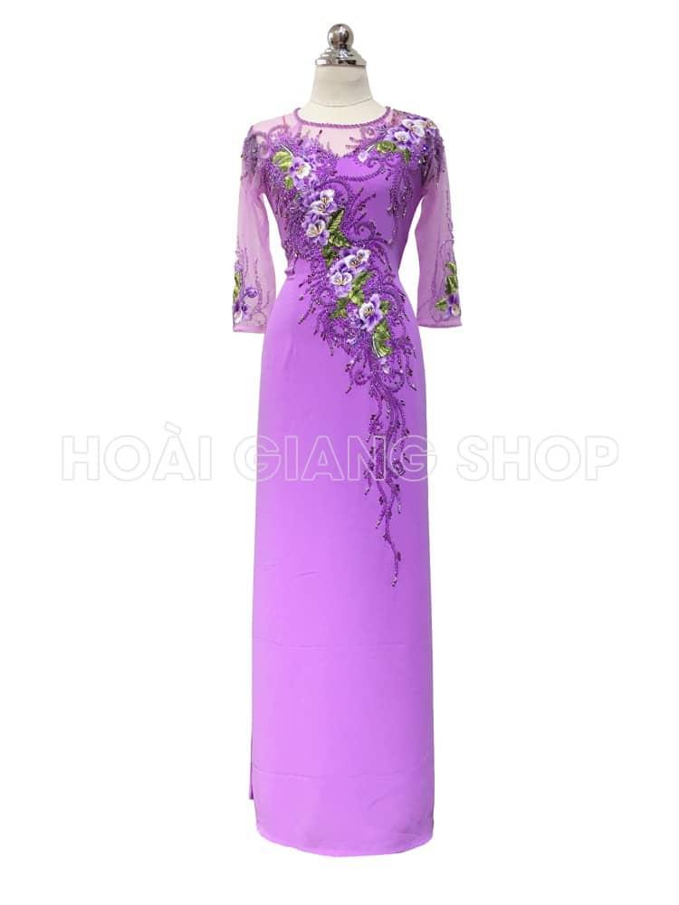 cho thuê áo dài sui gia màu hồng nhạt