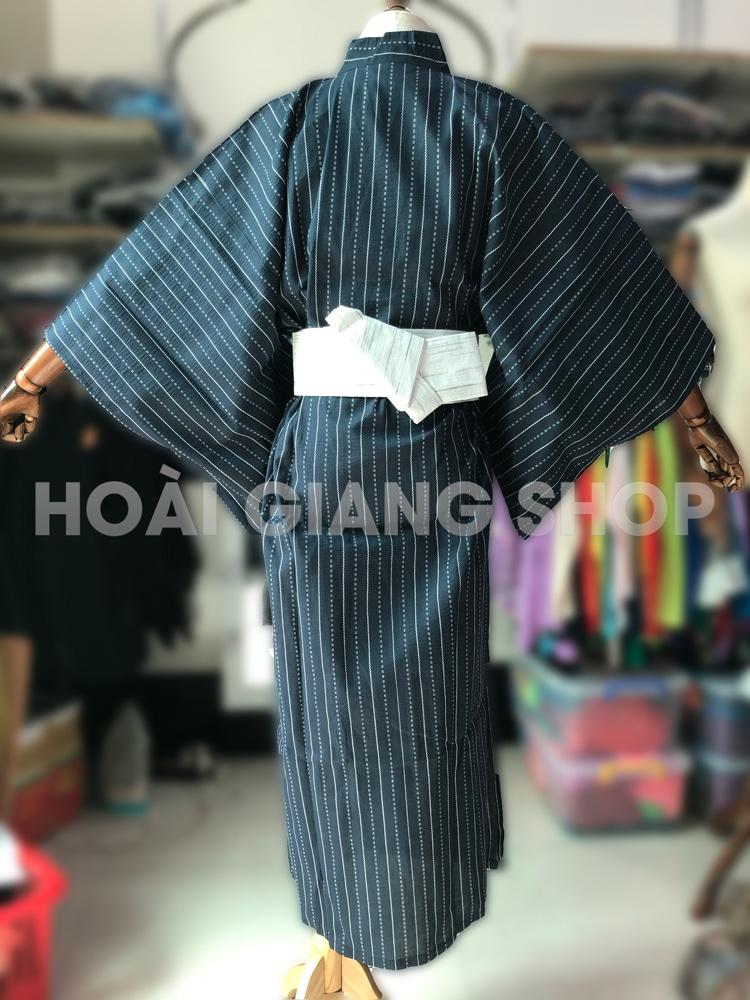 yukata nam màu xanh đen sọc trắng