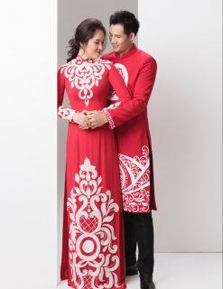 may áo dài cô dâu chú rể
