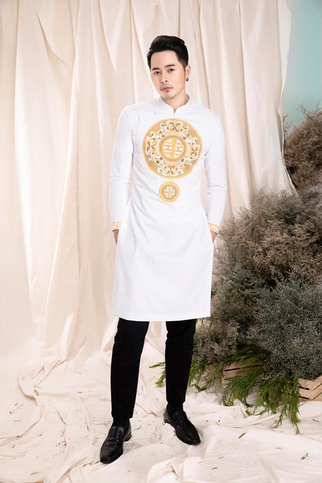 may áo dài nam màu trắng