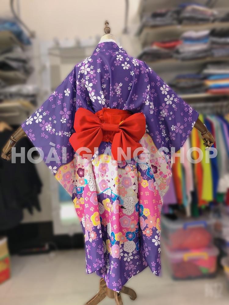 kimono nhật bản màu tím