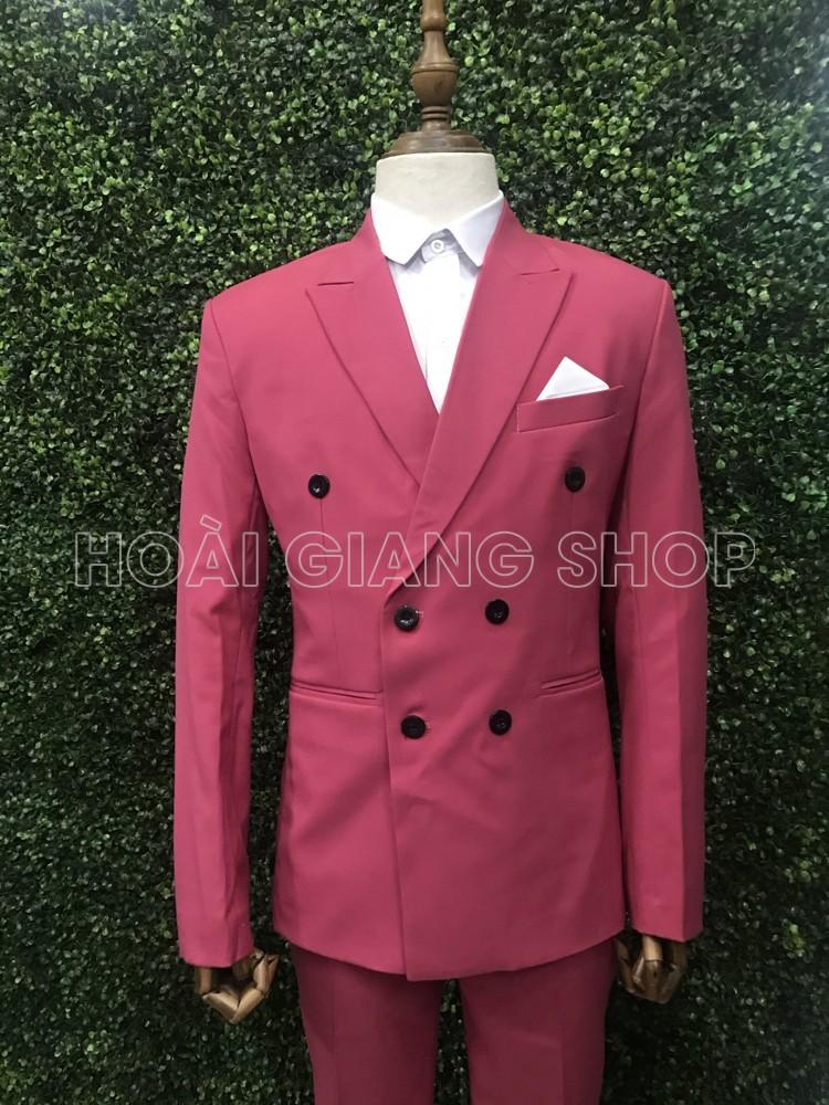 cho thuê vest nam màu hồng