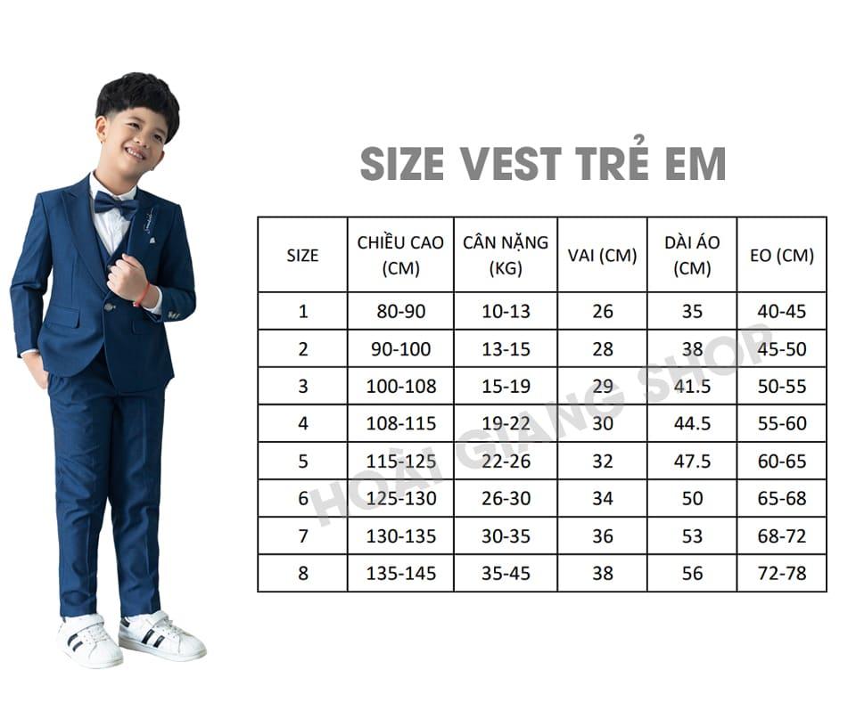 chọn size vest trẻ em
