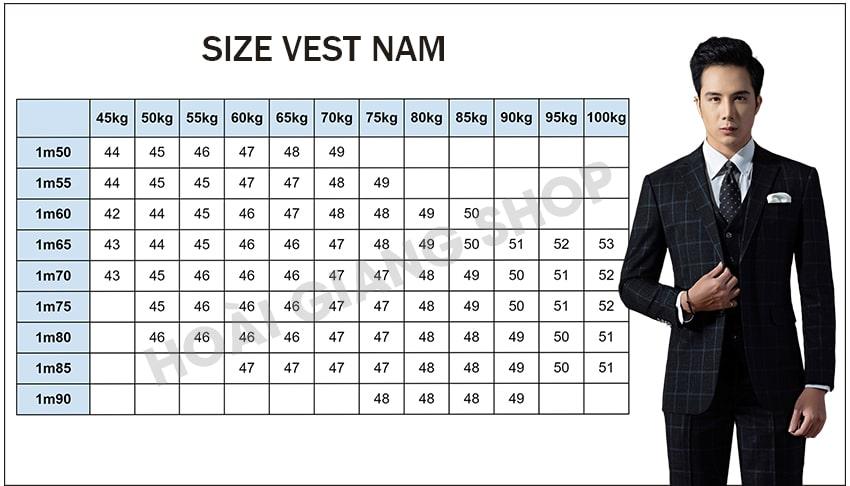 bảng size áo vest nam