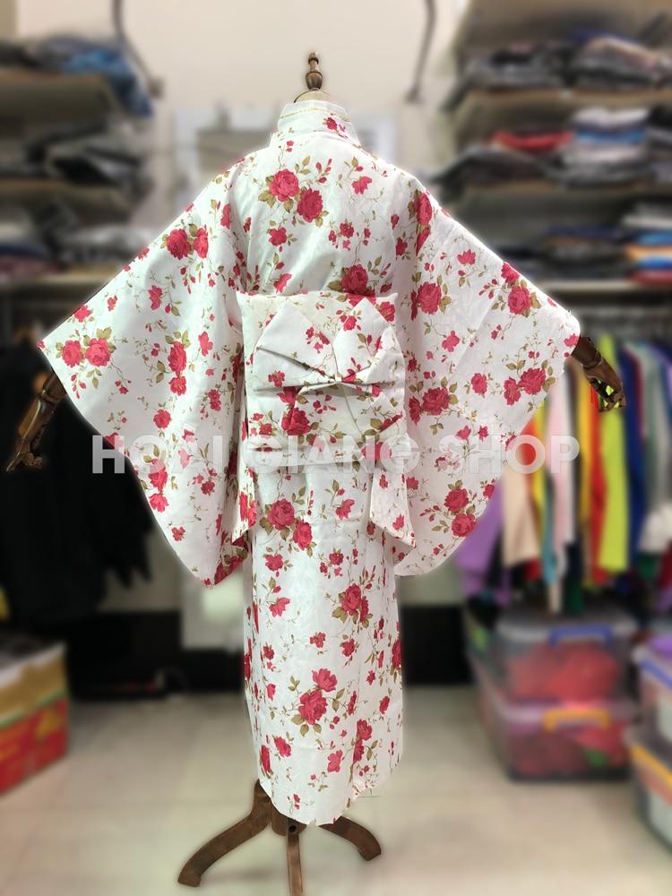 yukata nhật bản gấm màu trắng hoa đỏ