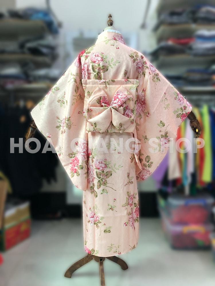 yukata nhật bản gấm hồng