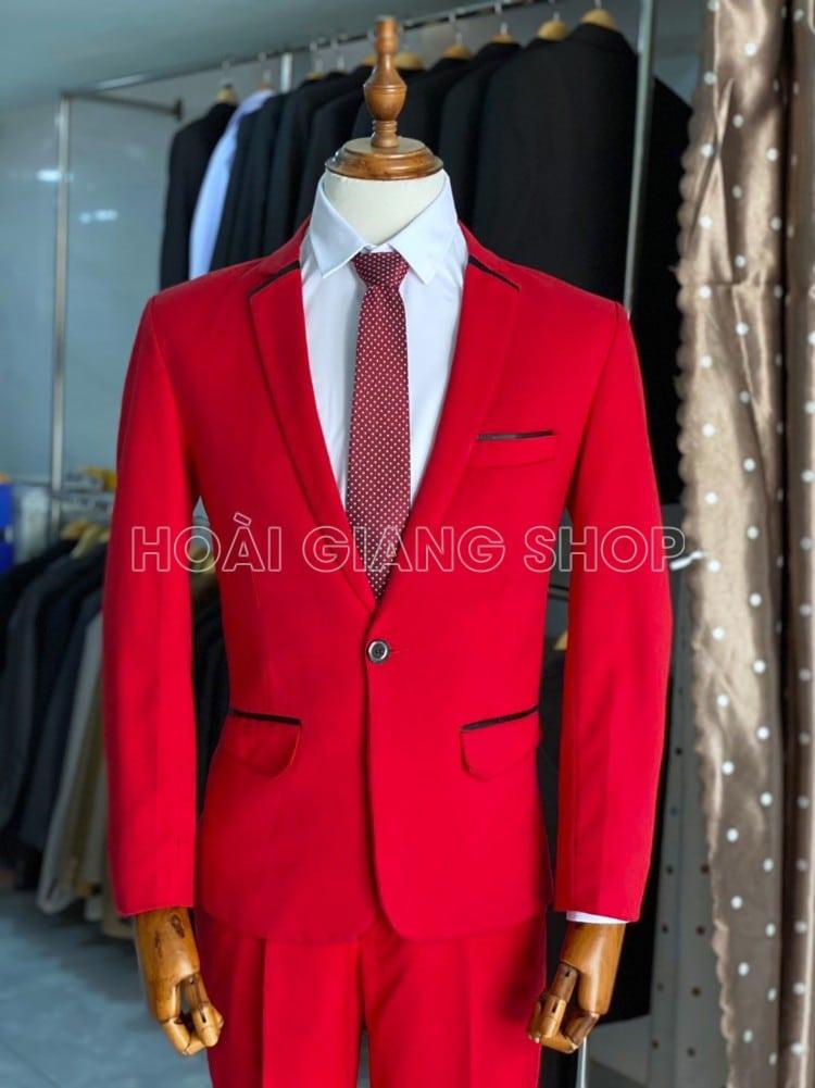 cho thuê vest nam màu đỏ tươi