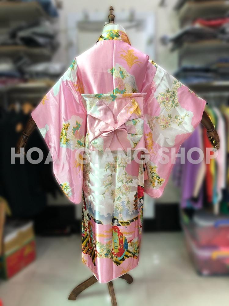 yukata nhật bản màu hồng